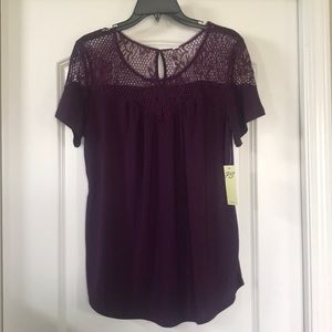 NWT Dark purple short sleeve top